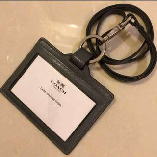 Coach Leather lanyard ID card holder