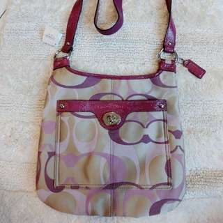 Coach Penelope Hippie Optic Signature Crossbody Messenger Bag Purse #45595