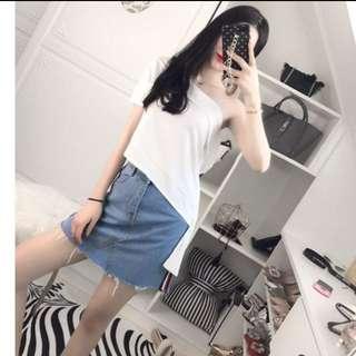 White half shoulder asymmetric shirt