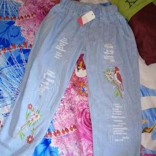 Celana Panjang Aksen Scratch Lucu Unik Cantik