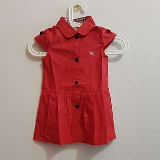 CNY CLEARANCE: BN Red Capped Sleeve Front Button Dress