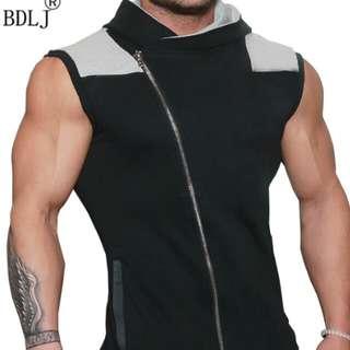 men's Sweatshirt Fitness Top Men's Sleeveless Hoodie
