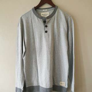 Abercrombie & Fitch Henley Grey Sweater