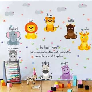 🎁Cartoon animal world cute children's room kindergarten early education decorative self-adhesive can remove the wall sticker/Home Decor