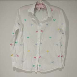 Heart Embroidered White Shirt