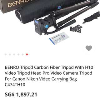 Benro Tripod with H10 Fluid Head