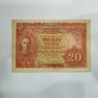 Malaya 1941 Twenty Cents