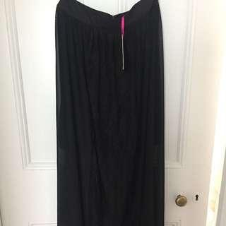Lace Panel Maxi Skirt - size 10