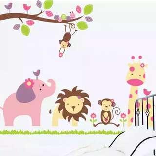 🎁Cute animal cartoon wall stickers living room children's room kindergarten background decorative wall stickers/Home Decor