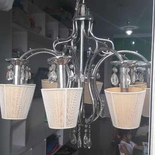 Lampu gantung stainless + kristal ( import )