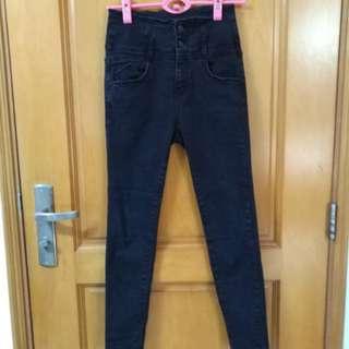 韓國高腰彈性貼身牛仔褲