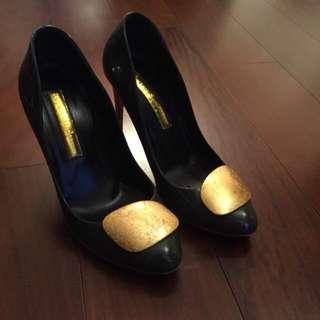 Rupert Sanderson grey patent gold pebble 38.5 high heels
