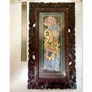Painting in wood carving frame