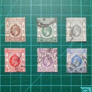 1912-21 喬治五世通用郵票 舊票六枚