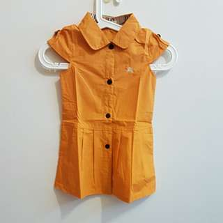 CNY CLEARANCE: BN Orange Capped Sleeve Front Button Dress