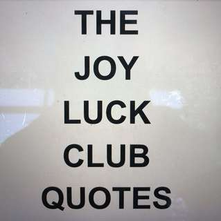 A1 A1 A1 💯💯O Level Literature The Joy Luck Club Quotes
