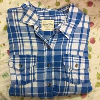 lativ 藍白格子襯衫
