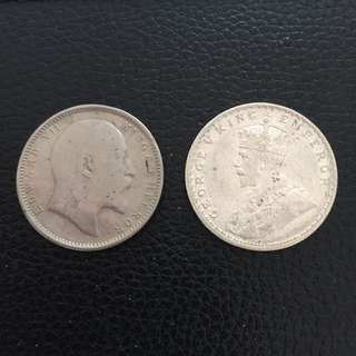 India 1907 1919 silver 1 rupee coins