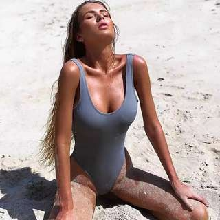 Grey swimsuit bodysuit