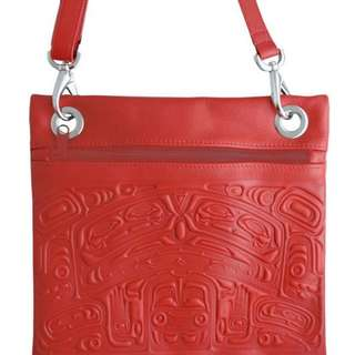 Leather Handbag in Crossbody Style with Embossed Bear Box Design - Red