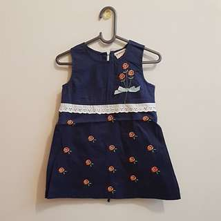 CNY CLEARANCE: BN Navy Blue A-Line Dress with Embroidered Flowers