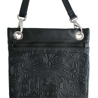Leather Handbag in Crossbody Style with Embossed Bear Box Design - Black