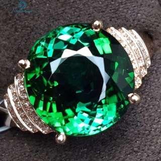 18K 玫瑰金 綠碧璽鑽石戒指