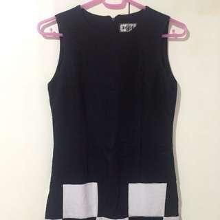Black Shift Dress with B&W Blocks