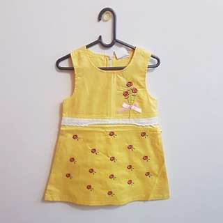 CNY CLEARANCE: BN Yellow A-Line Dress with Embroidered Flowers