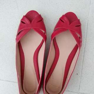 Red open toe flats