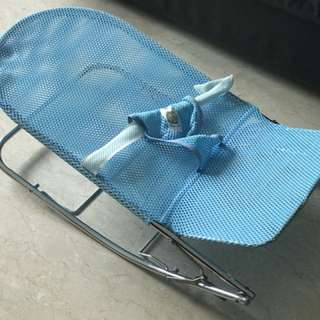 Preloved baby net / mesh bouncer - blue and pink