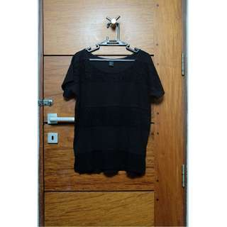 H&M Black T-Shirt with Lace Detail