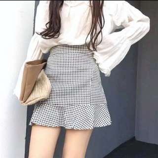 Ready Stock Fish Tail Checked Skirt
