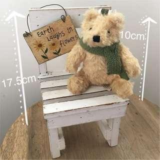 小熊擺設一套(小熊+白木椅+花字牌)