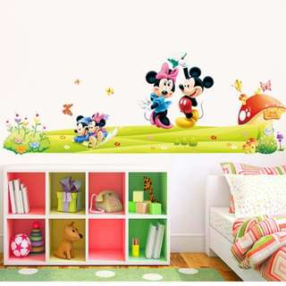 🎁New Mickey Minnie bedroom living room wall stickers foreign trade waterproof removable/Home Decor