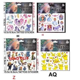 In Stock: Cartoon Design Temporary Tattoo (My Little Pony/ Sofia the 1st/ Pokemon/ Lego/ Paw Patrol/ Princess/ Trolls/ PJ Mask / Avengers/ Peppa Pig)