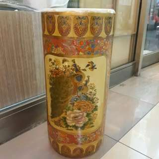 big vintage chinese phoenix and fowl vase umbrella stand