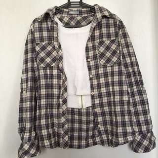 Checkered Flannel (black and violet)