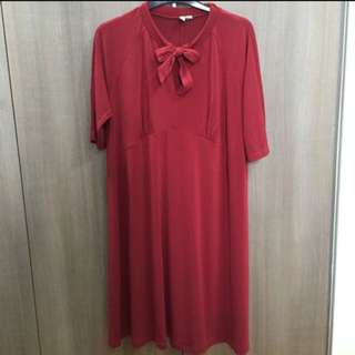 ASOS Maternity Swing Red Dress with Bow UK 16