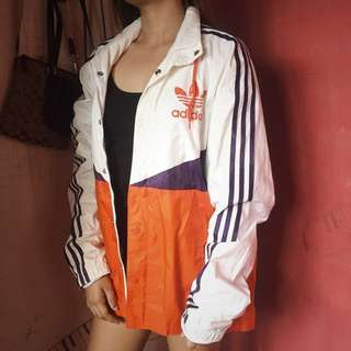 Authentic Adidas three stripes windbreaker