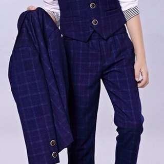 花仔藍色西裝連恤衫/背心/煲呔