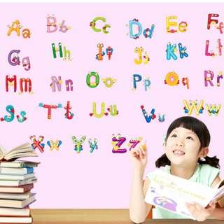 26 English alphabet nursery background early childhood learning wall stickers PVC membrane early childhood education appliances/Home Decor