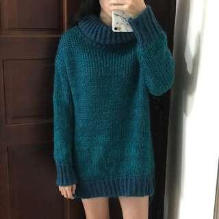 藍綠長版針織毛衣