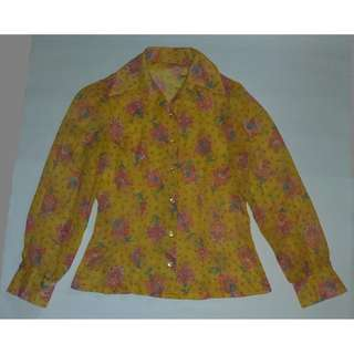 (RENT @ $5) Vintage Yellow Floral Top - Free Size