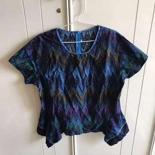 (NEW) Blue Tribal Batik Top