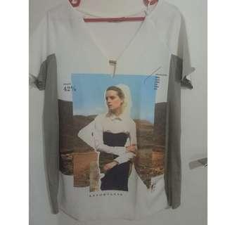 Zara print white blouse