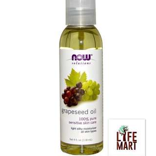*FREE MAIL* Now Foods, 100% Pure Grapeseed Oil 118ml