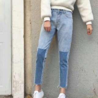 two-toned denim mum jeans