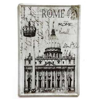 Vintage Reproduction Tin Sign (30cm x 20cm): Rome St. Peter's Square (Basilica) Postcard Catholic Christian Theme