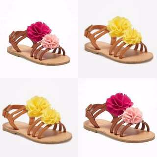 BN Old Navy Baby/Toddler Girl Chiffon Rosette Summer Yellow/Pink Sandals US5 & US8 available! 1-3 years